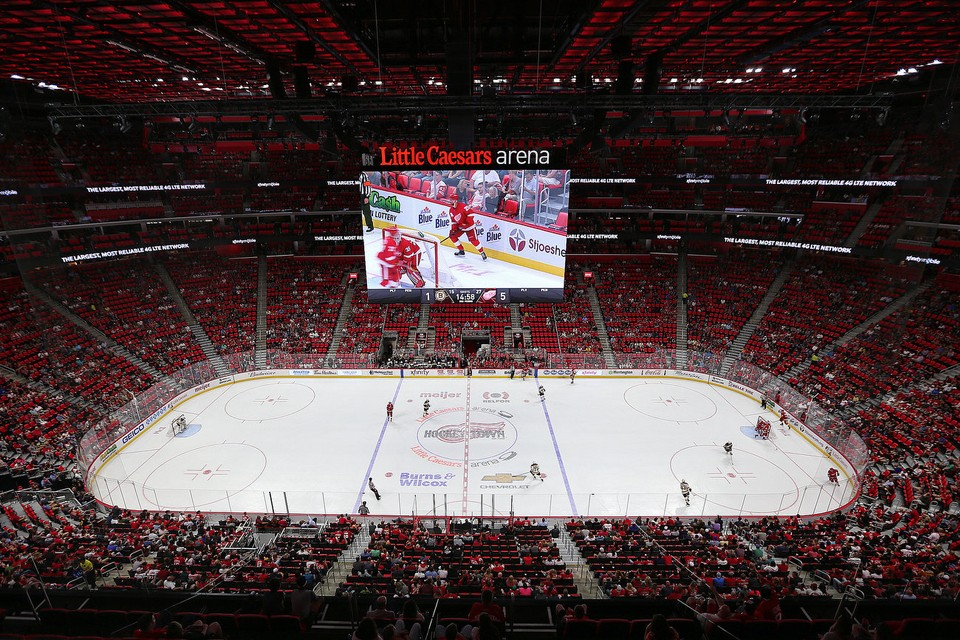 The Redwings play inside of RBV Contracting's Little Caesars Arena.